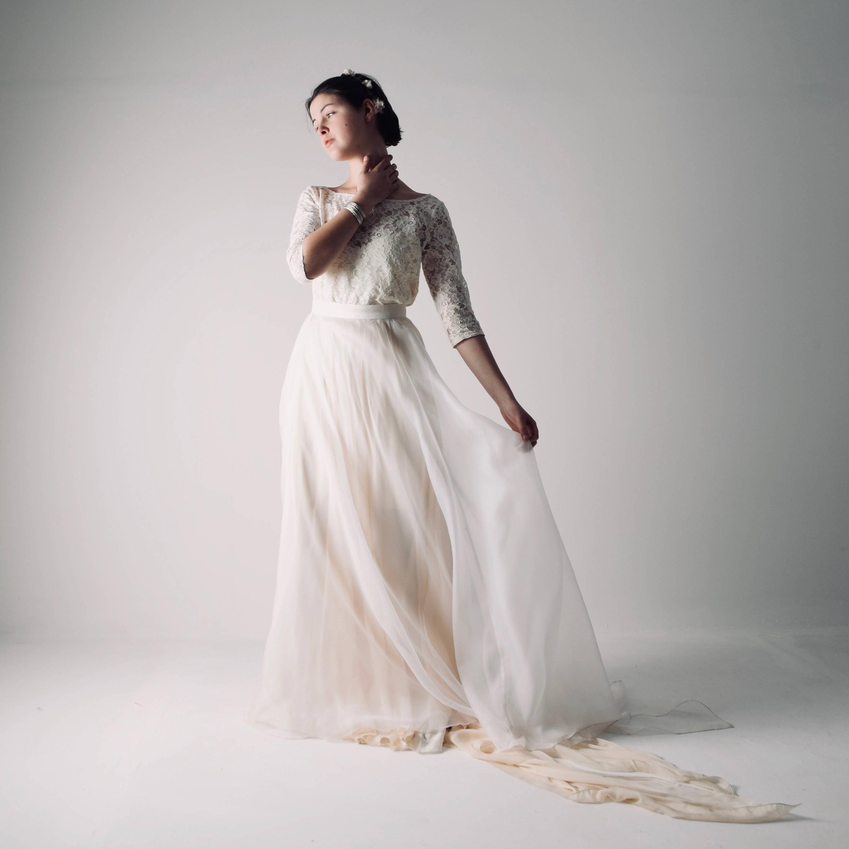 Modest lace wedding dress ~ Long sleeve Lace dress by Larimeloom