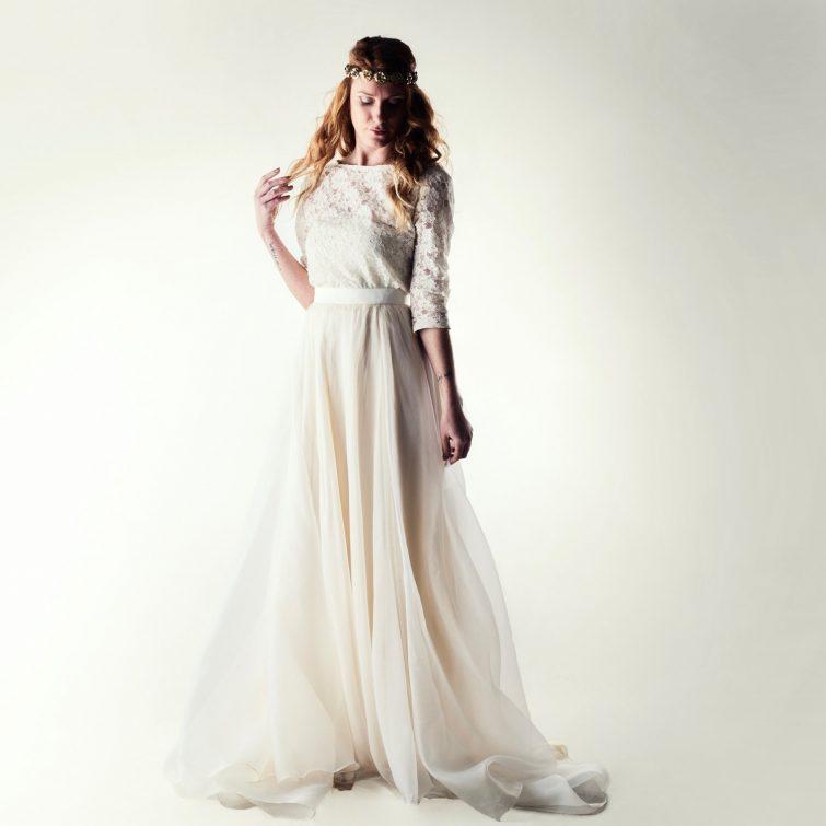 Honeysuckle ~ Modest lace wedding dress