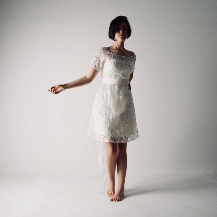 Cosmos ~ Short Lace Wedding Dress - Larimeloom Handmade Clothing