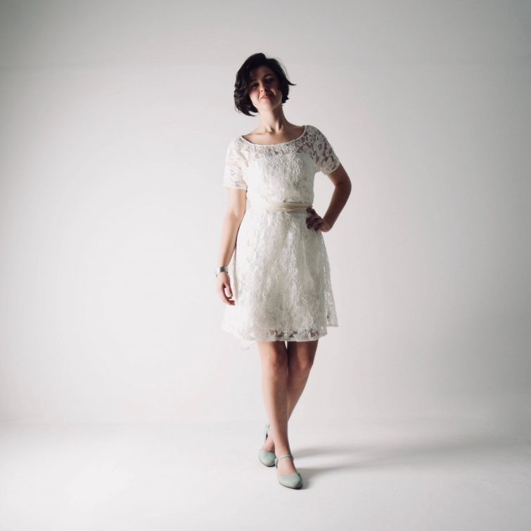 Cosmos ~ Short Lace Wedding Dress - Larimeloom Handmade Clothing