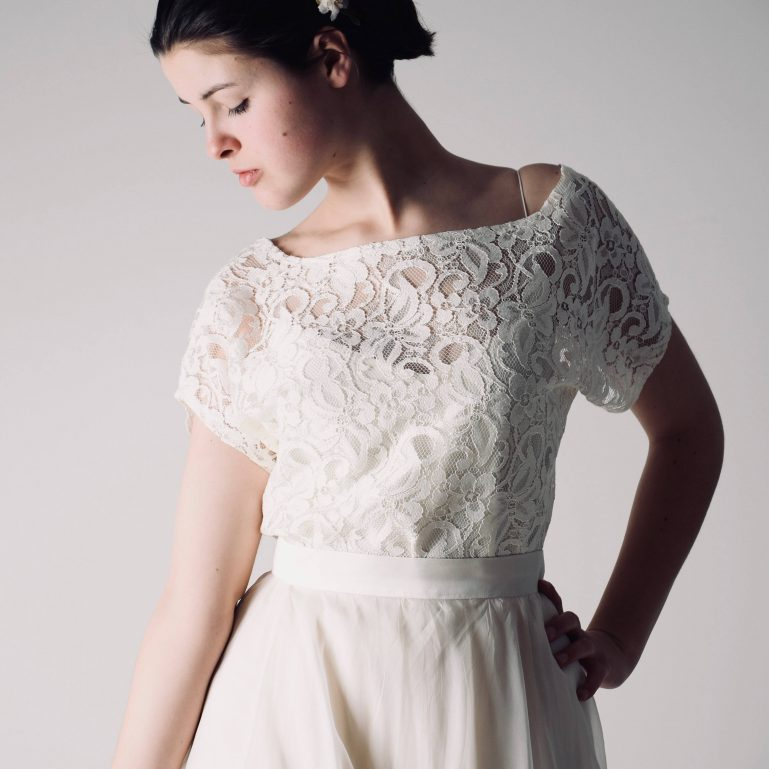 Clover ~ Soft lace blouse with short sleeves, Handmade by Larimeloom