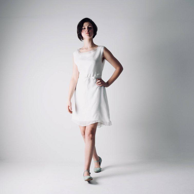Lisianthus ~ Short Tunic Wedding Dress - Larimeloom Handmade Clothing