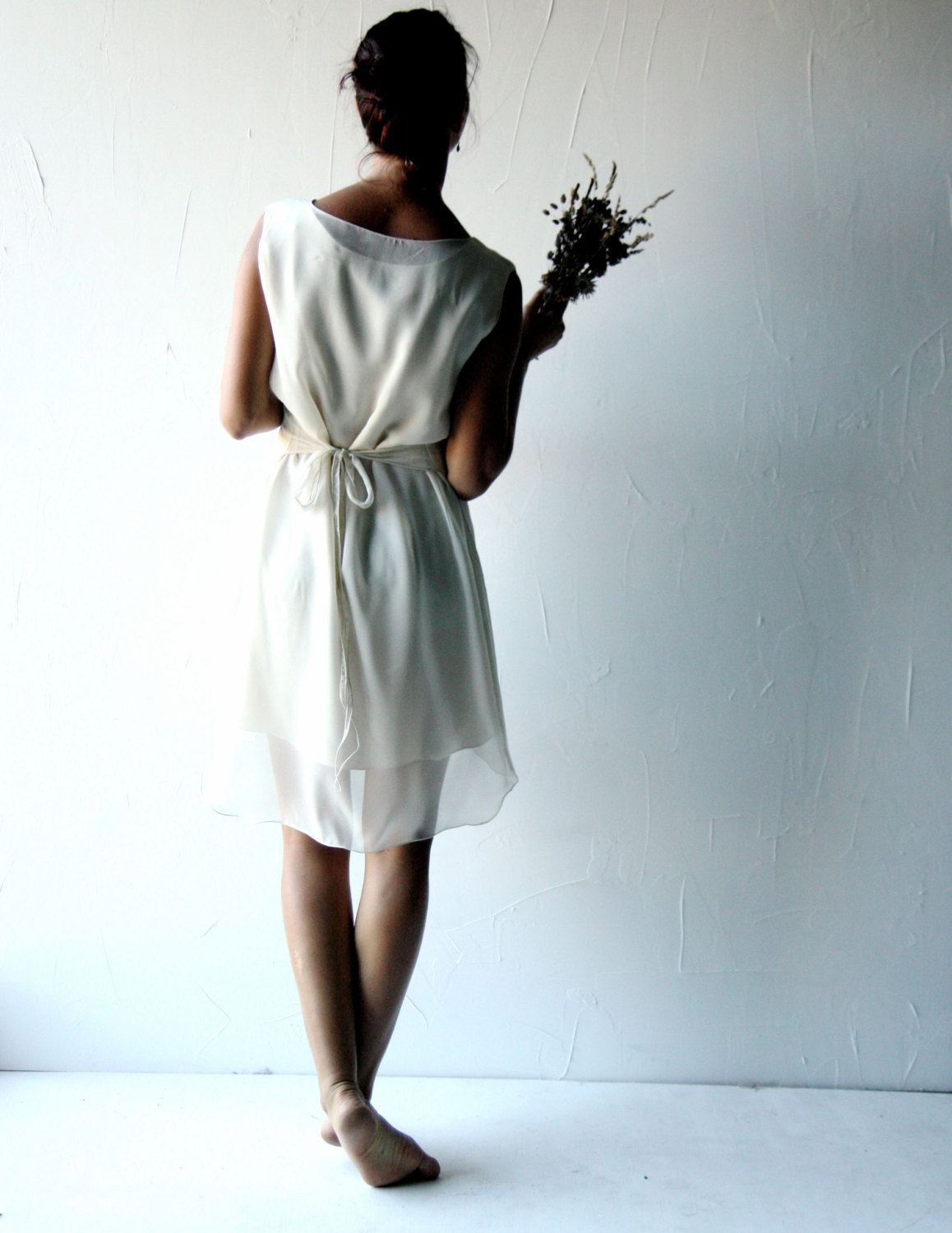 Lisianthus ~ Short Tunic Wedding Dress - Larimeloom Handmade Clothing