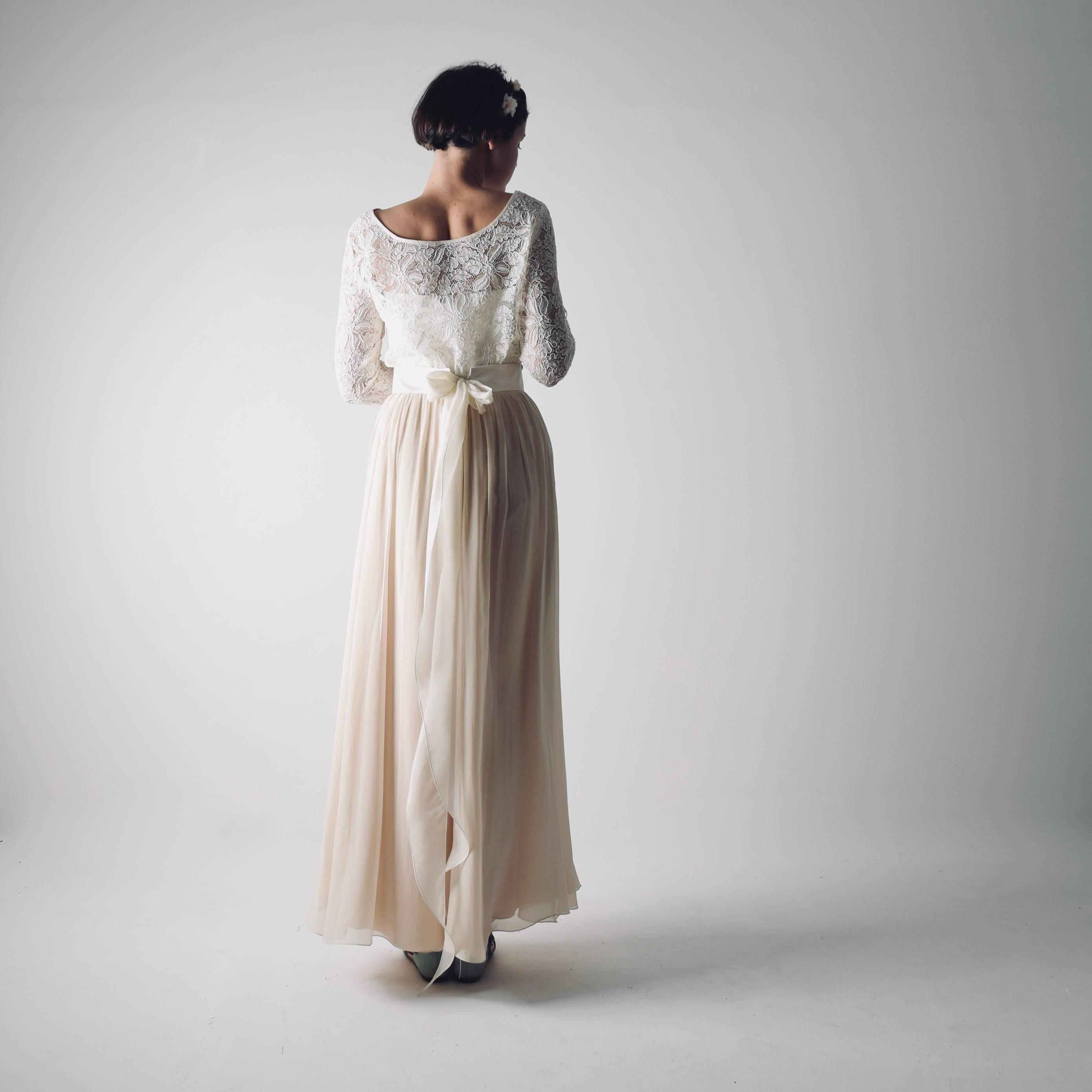 Simple Low Key Wedding Dresses: Long Sleeve Modest Wedding Dress