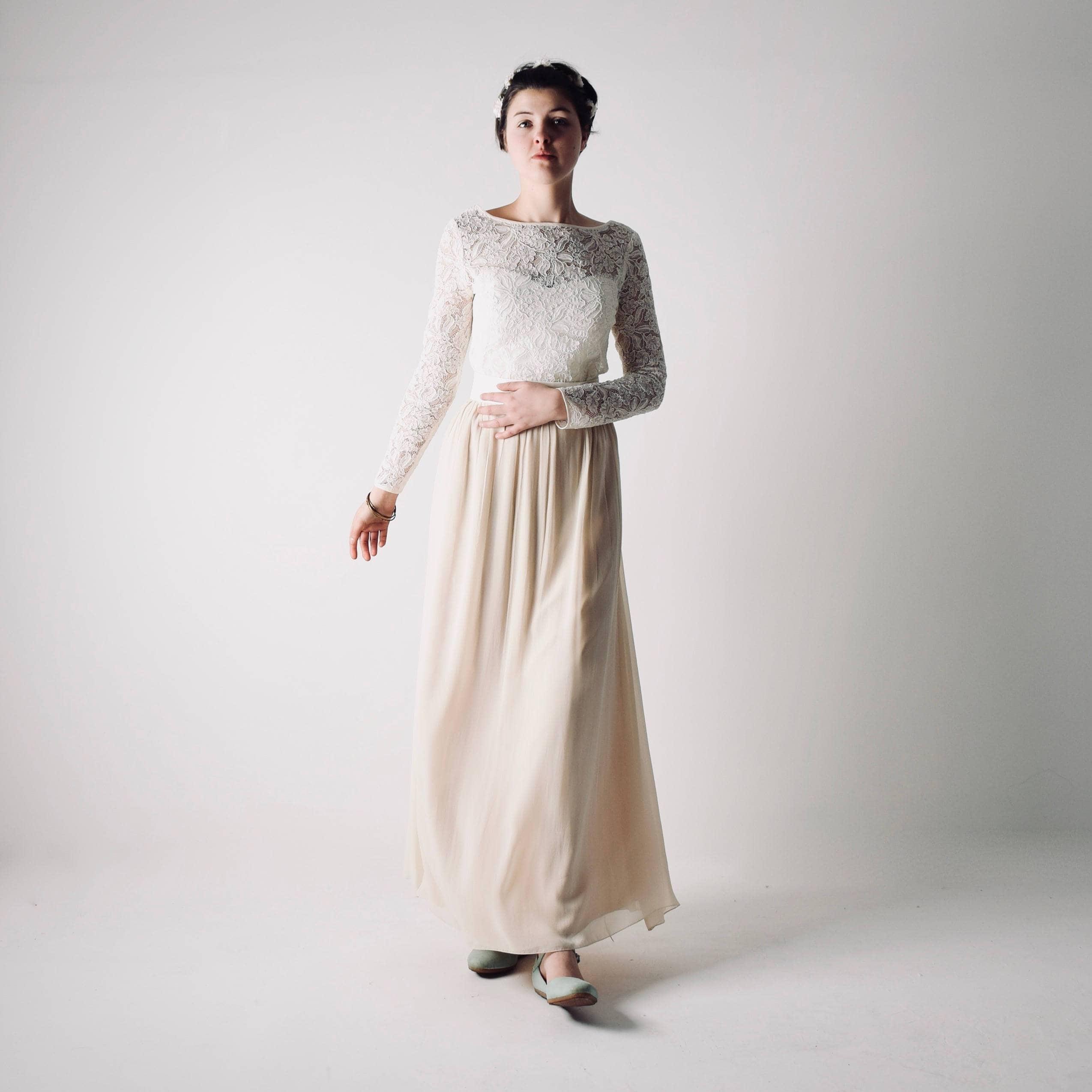High Waist Vinca Long Sleeve Modest Wedding Dress