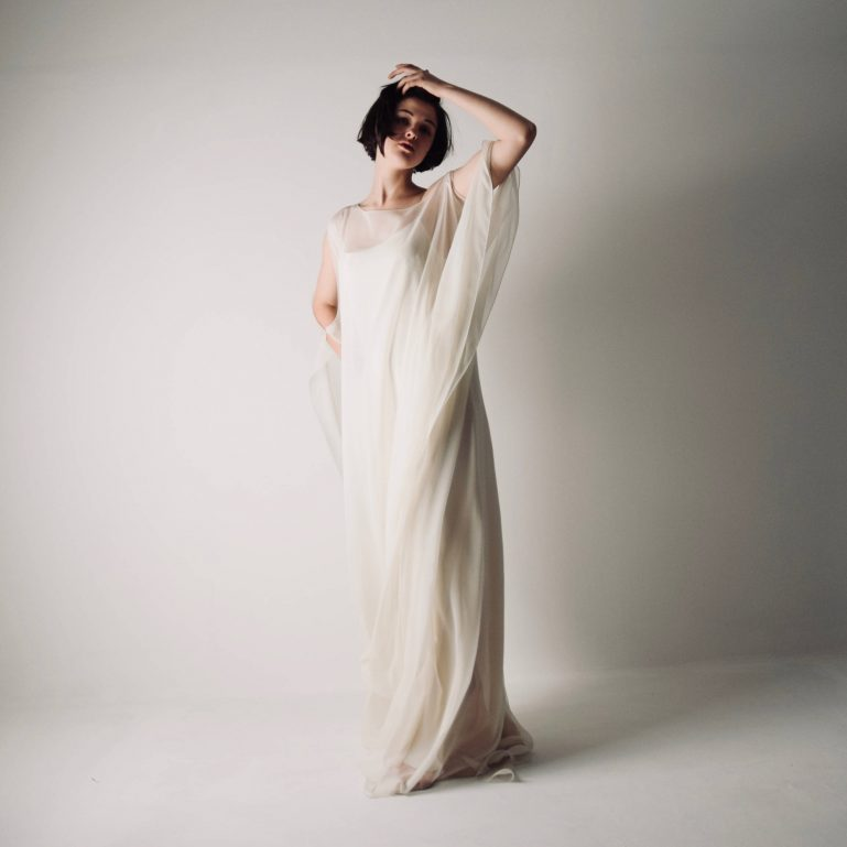 Simple boho wedding dress ~ Unstructured silk gown by Larimeloom