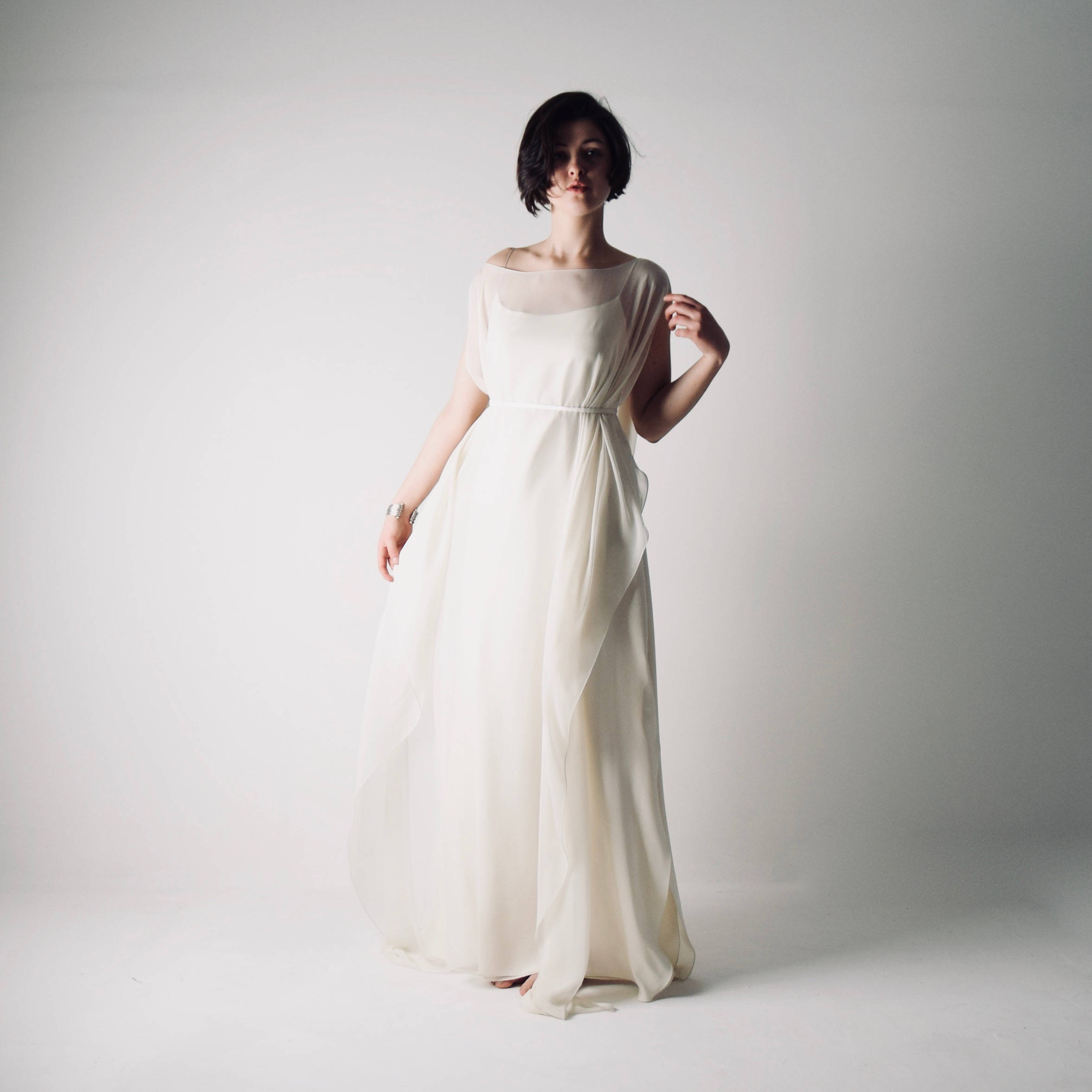 Simple Boho Wedding Dress Unstructured Silk Gown By