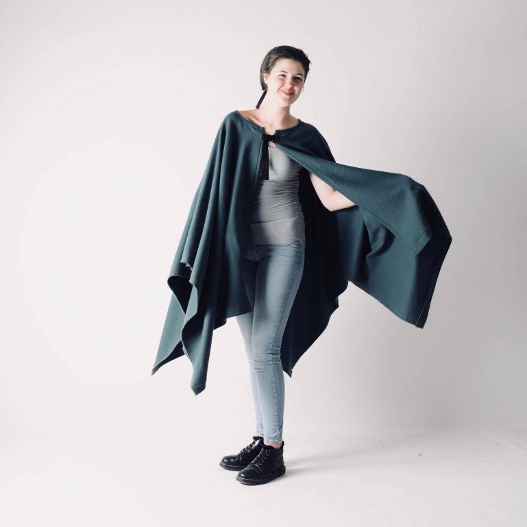 Medieval style wool cape ~ Long green winter cloak by larimeloom