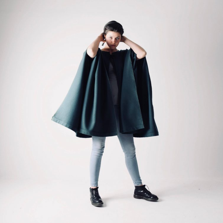 Medieval style wool cape ~ Long green winter cloak by larimeloom