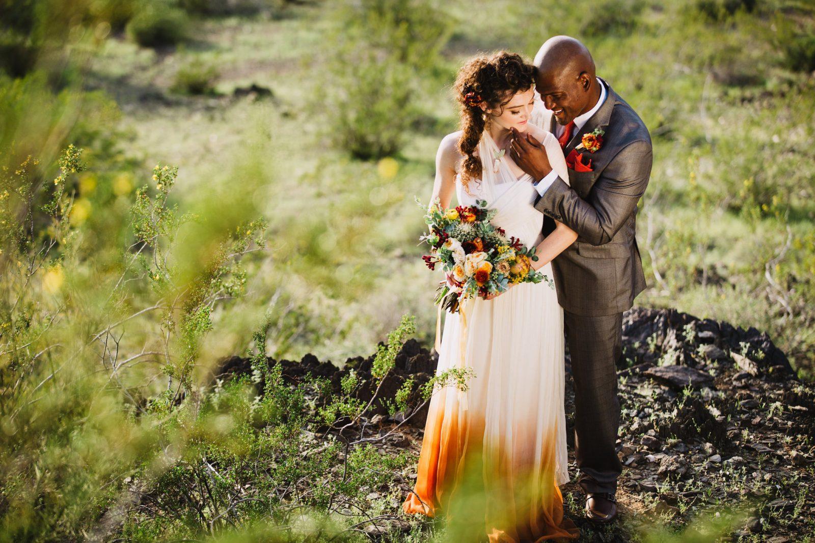 Bridal styled shoot in the Arizona desert ~ Orange Dip dye wedding dress