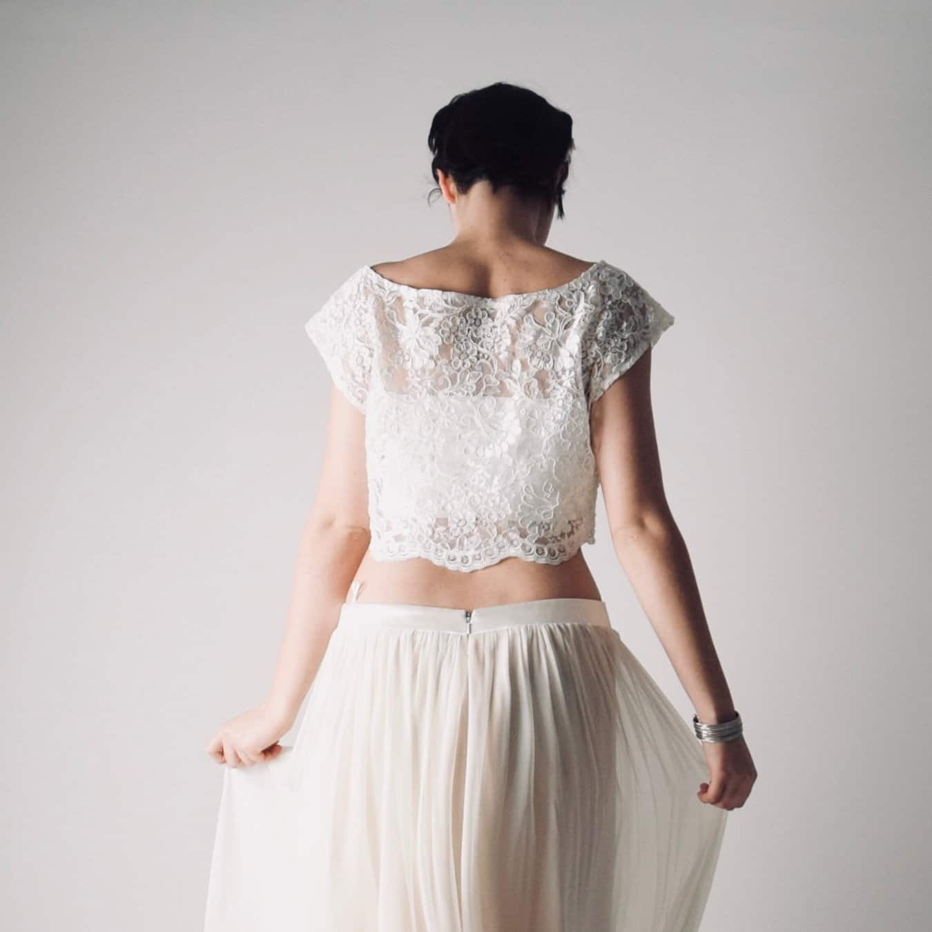 Parsley ~ Boho lace crop top ~ Handmade English lace top by Larimeloom