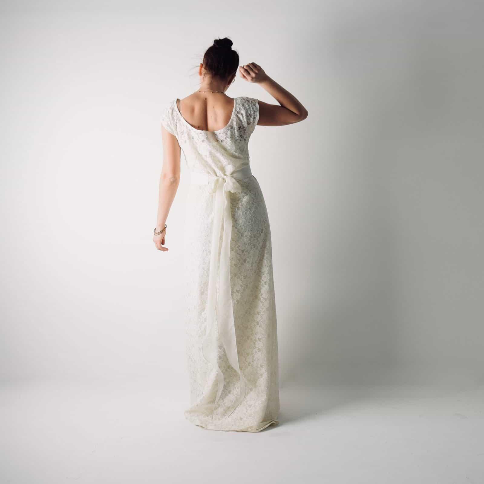 Simple Lace Tunic Wedding Dress