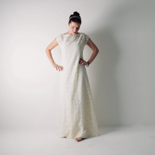 Tansy ~ Simple Lace tunic wedding dress ~ Modest gown by Larimeloom