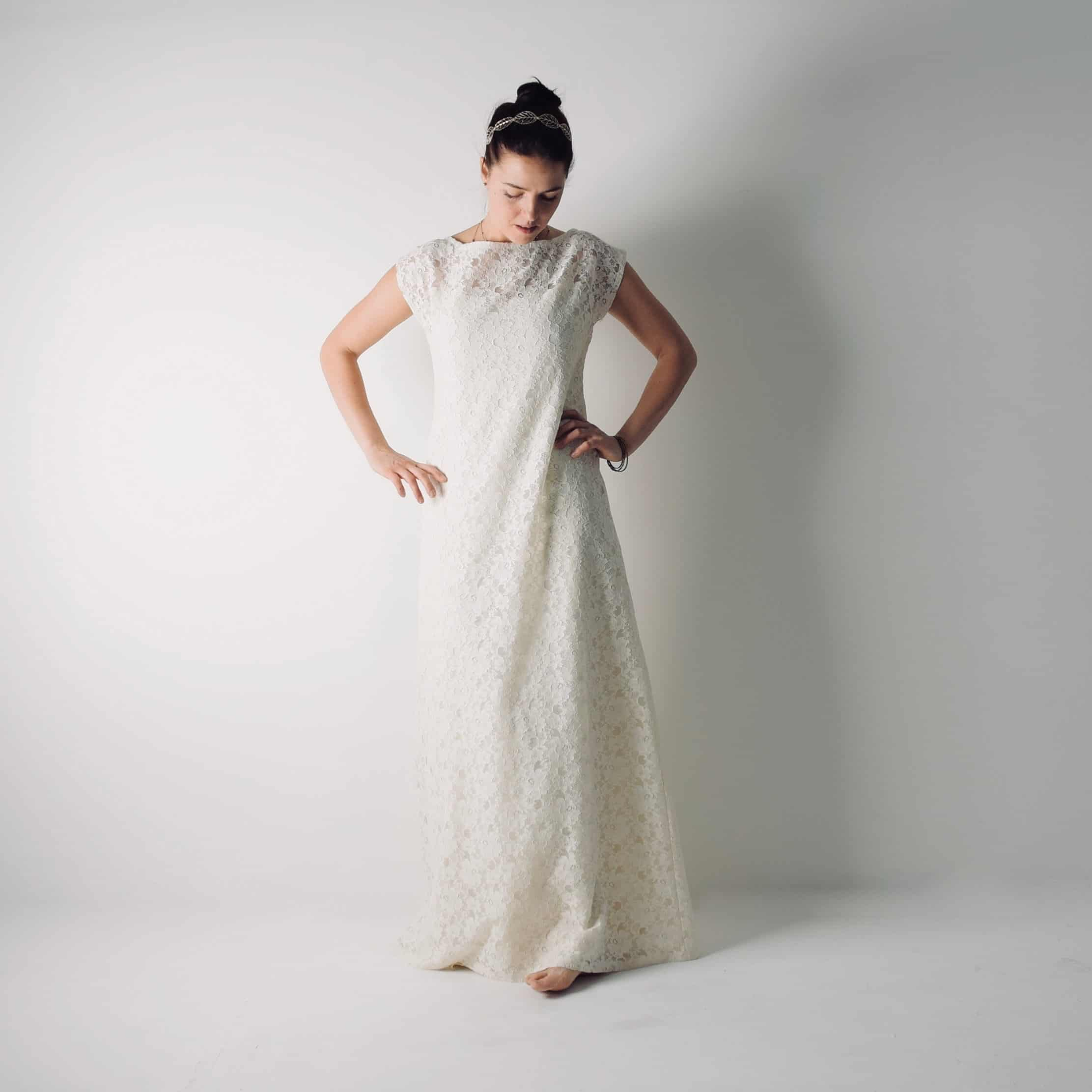 Simple Lace tunic wedding dress ~ Modest gown by Larimeloom