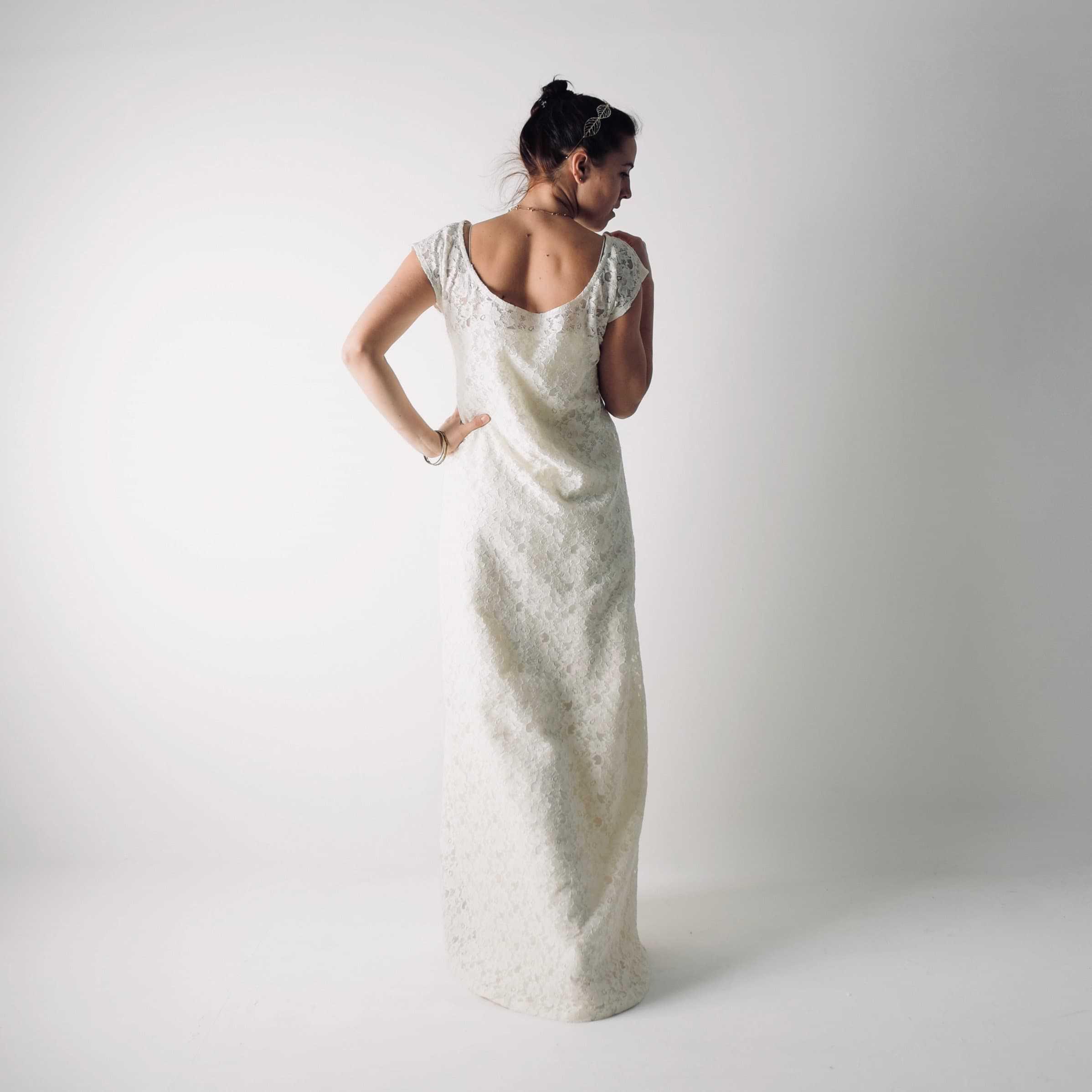 Simple modest lace wedding dress