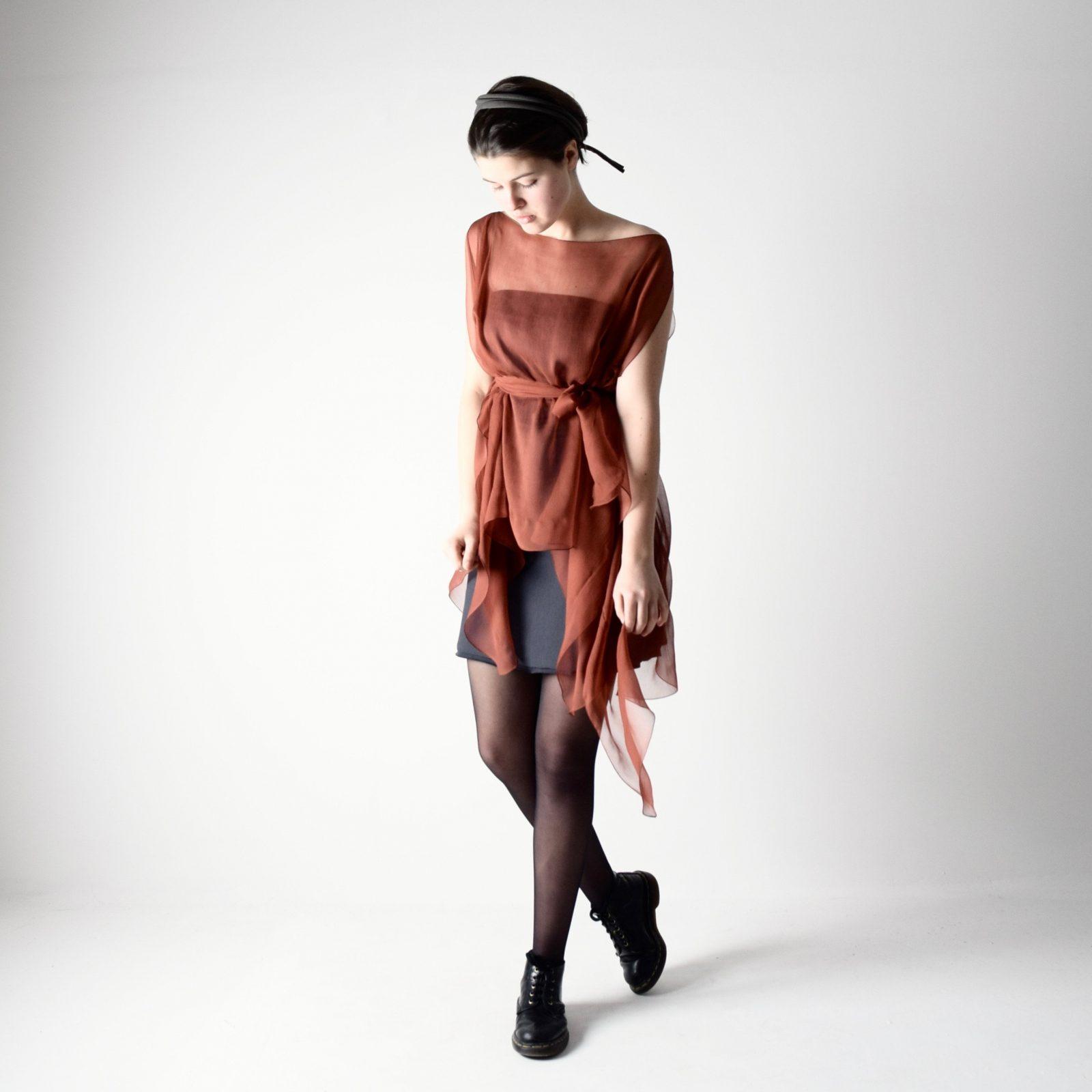 Rust silk kaftan dress ~ Handmade clothing by Larimeloom