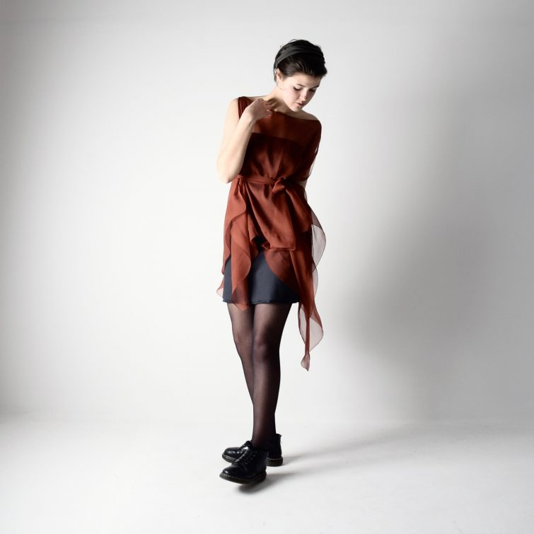 Rust silk kaftan dress ~ Handmade clothing by Larimeloom