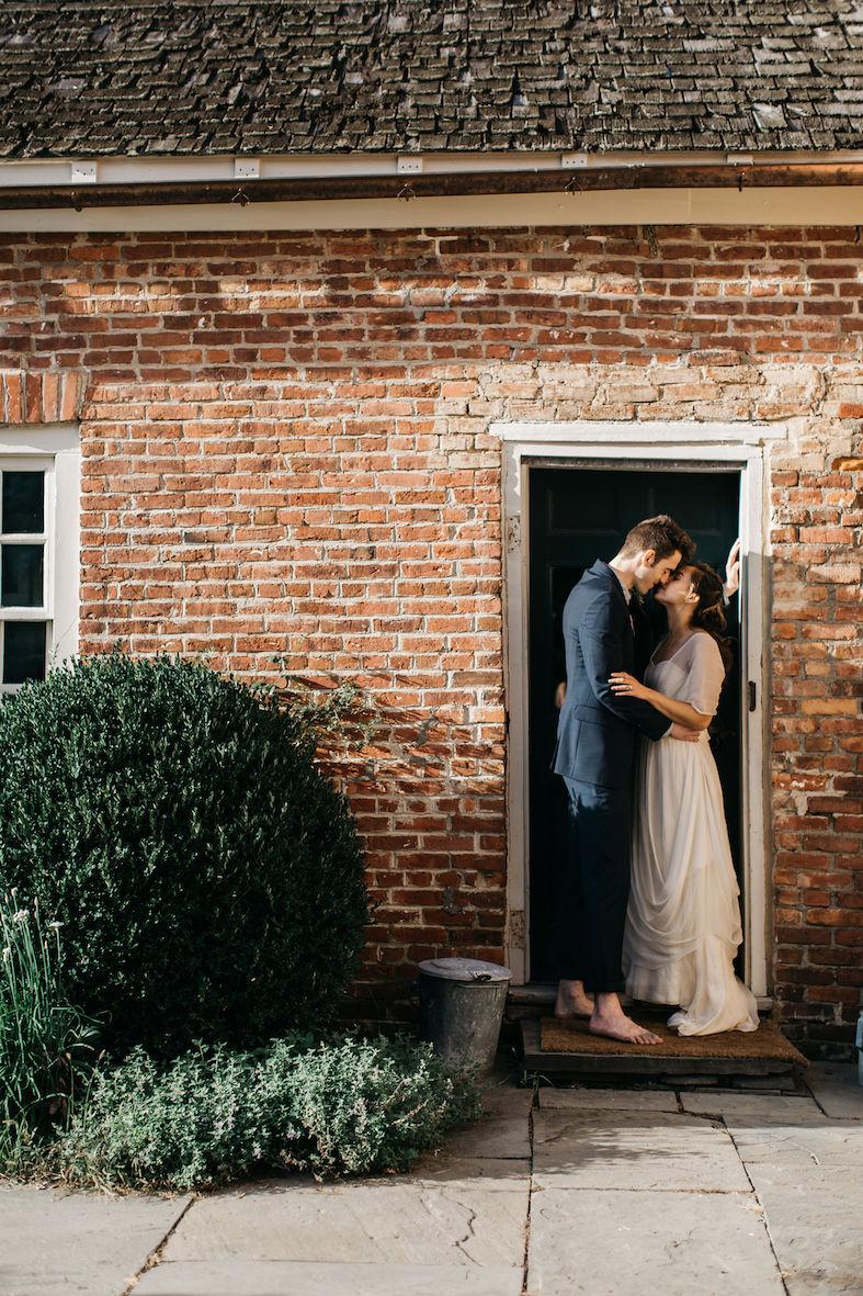 Boho silk wedding dress with sleeves