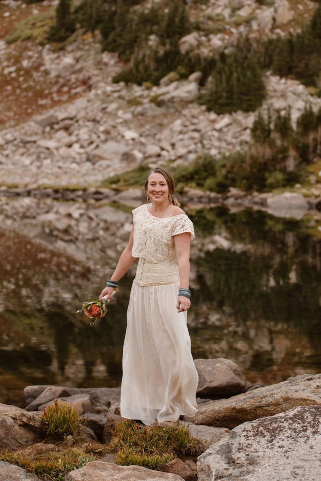 private elopement in the mountains wedding dress