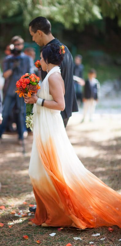 bohemian dip dyed wedding dress real wedding photos
