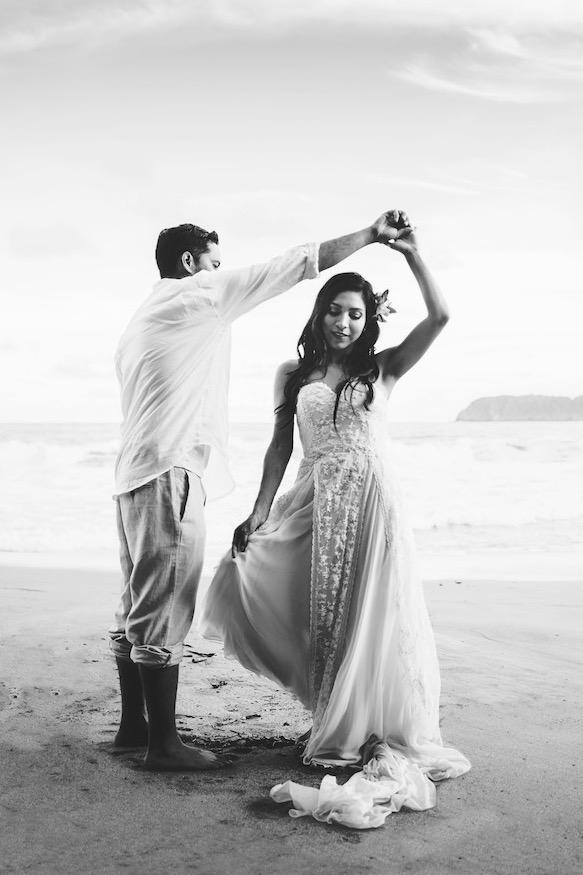 Lucy's tropical beach wedding in a beaded wedding dress