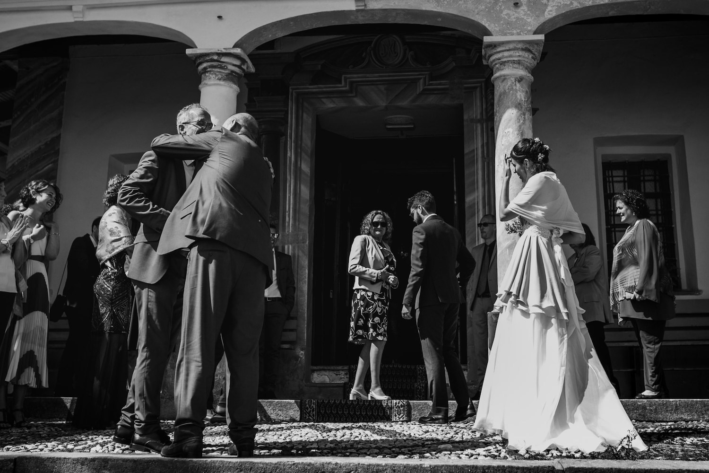Alpine wedding in a silk chiffon asymmetrical wedding dress
