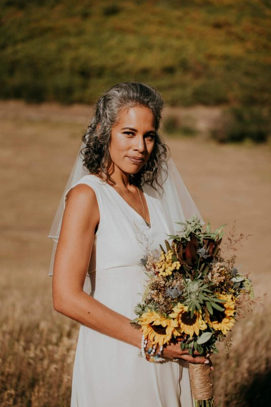 hemp themed Colorado wedding alternative bride