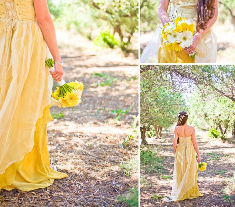 Jewish wedding in crete Larimeloom real bride wearing yellow wedding dress