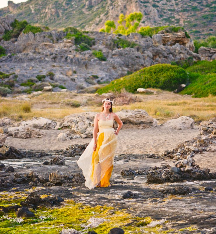 Jewish wedding in crete Larimeloom real bride wearing yellow wedding dress