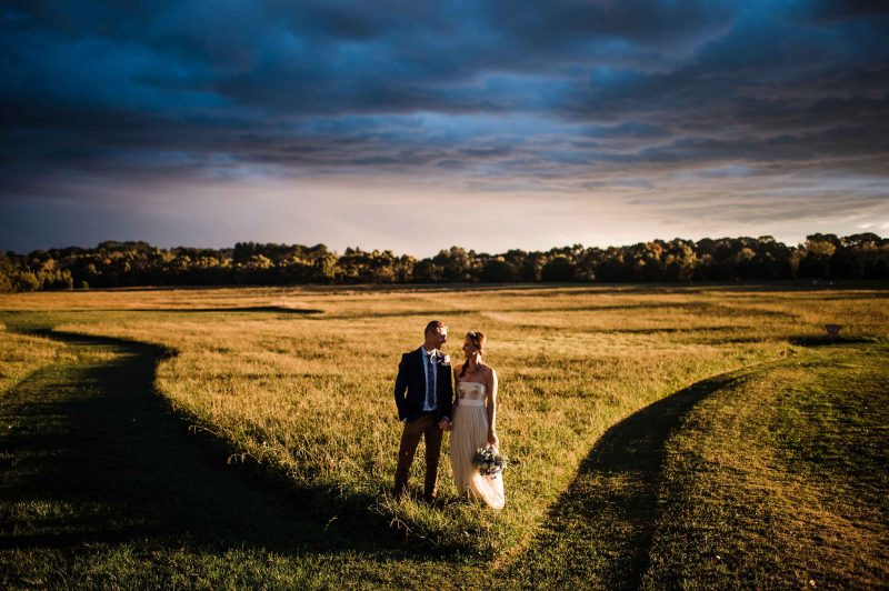 dramatic country wedding, bride and groom, fairy wedding dress, handmade custom wedding gown