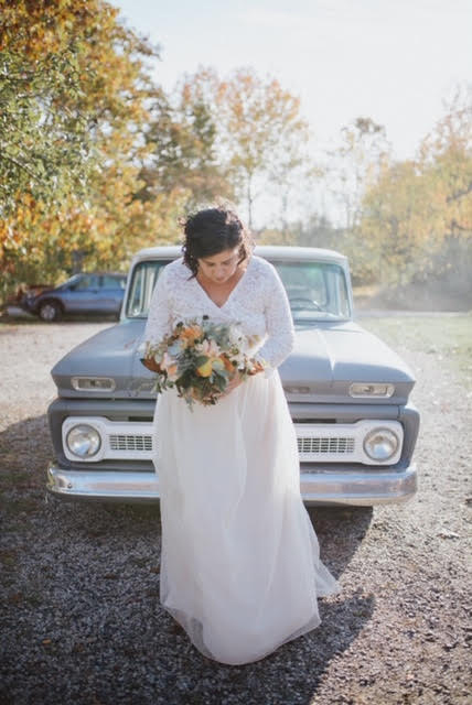 outdoor country wedding, plus size pride, bride and groom, handmade custom gown, rustic vibes wedding