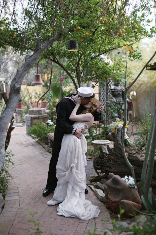 wedding at the beach, retro wedding, traditional wedding, american dream couple, sailor groom, sunflower bouquet, adorable couple's wedding day