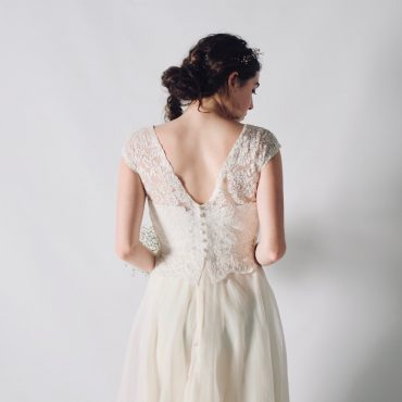 Lace wedding top with buttons