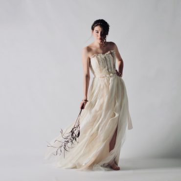 Sustainable feathery strapless wedding dress