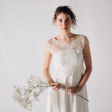 Cap sleeve lace wedding top