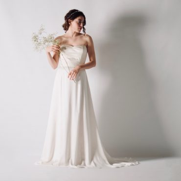Silk satin strapless wedding dress