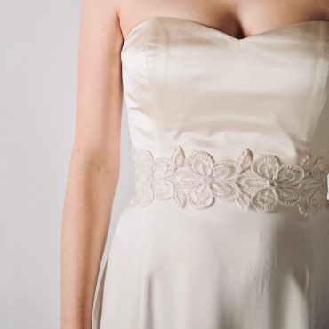 Lace bridal sash with soft silk bow