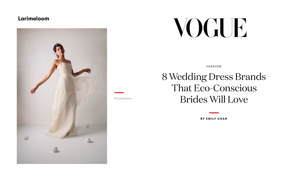 alto eroico Uluru  Vogue: Larimeloom, sustainable wedding dress designers for the  eco-conscious bride | Larimeloom