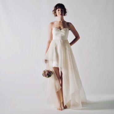 High-low asymmetrical wedding dress