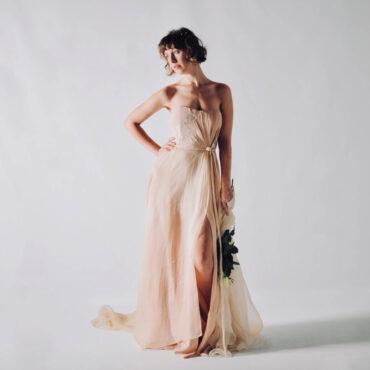Hypericum ~ Draped silk wedding dress in Blush