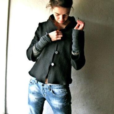 Asymmetrical wool jacket