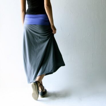 A-line Asymmetrical Maxi Skirt in stretch cotton