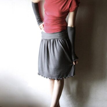 Gathered Cotton Knee Length Skirt