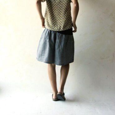 Short Gathered Linen Skirt