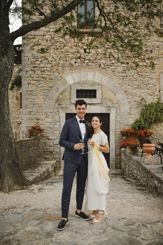 Modern painted wedding dress in Umbria